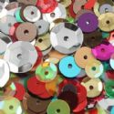Sequins, Assorted colours, 3 - 10, 1100 pieces, 10g, Faceted Discs, Sequins are shiny, [CZP224]